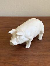 """Vintage Cast Iron Pig Piggy Door Stop White Farmhouse Decor 6"""""""