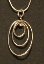 Good Size Sterling Silver 3 Hoops Pendant Necklace Hallmarked TS 925 London