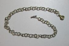 David Yurman Silver 18K Gold 8 mm Mini Oval Link Cable Chain Necklace 18 Inch