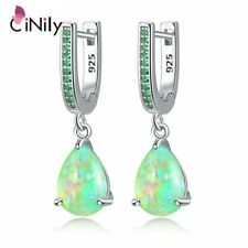 Green Fire Opal Stone Drop Earrings Silver Pink Crystals Xmas Gifts For Her Mum