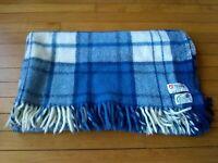 "Blue Plaid Norway Wool Blanket Throw Fringe 46"" x 54"" Oko-Tex Asa Gjestal"