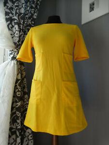 Abito svasato GIALLO manica corta stile vintage tasche S mini vestito online