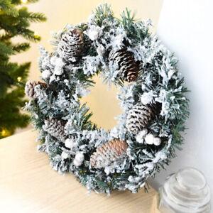 30CM Christmas Garland Snowy Pine Cones Flocked Door Wreath XMAS Party Decor UK