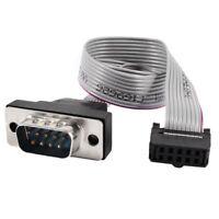 Gris 2.54mm paso DB9 a 10P M / F IDC Conector del cable de cinta plana 30cm O7D2