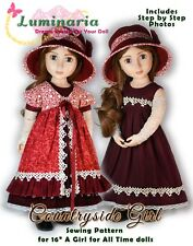 "Digital Pattern Dress Hat Pinafore for 16"" A Girl for All Time AGAT Dolls"