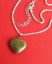NEW! Unakite Gemstone Heart Pendant Necklace Women's Teens - Aussie Seller!!!