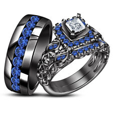 Sapphire Trio Set Matching Engagement Ring Wedding Band Pave Black Gold Over 3Ct