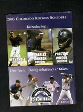 Colorado Rockies--2003 Pocket Schedule--Coke--Helton/Walker/Jennings