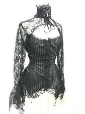 """Raven steampunk Goth High Neck Blouse With Front Cut Out  In Size 38/40""""ML"""