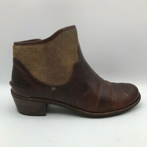 Ugg Womens Penelope Ankle Booties Brown Leather Round Toe Fur Trim Side Zip 8.5