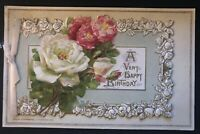 WINSCH ~Vintage~Birthday Booklet Postcard ~Colorful Pretty Roses-c316
