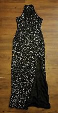 Scala Womens M Black Sequins Evening Gown Formal Dress Silk Bodycon Vintage 90s