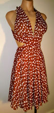 NARIANNA USA Designer Dress Backless Dots Full Circle Skirt Lined New with Tag S