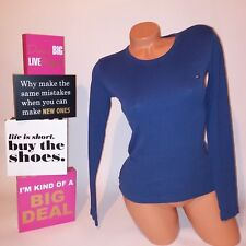 Tommy Hifiger Womens Knit Top Tunic Solid Blue Long Sleeve X-Small XS
