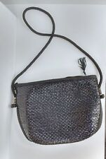 Vintage black straw Walborg purse handbag, shoulder strap