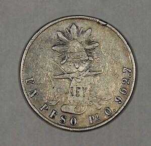 1871 Pi O Mexico Silver Un Peso Second Republic KM 408.7