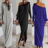 New Women Casual Loose Long Sleeve Boho Beach Long Maxi Sundress Dress