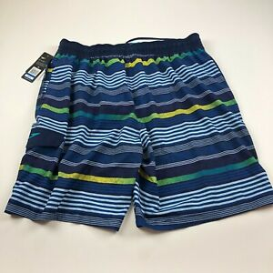 Speedo NWT Blue Striped Mens (Actual 36W) Mesh Lined Swim Trunk Shorts