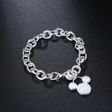 925 Stamped Sterling Silver Filled Mickey Mouse Charm Bangle Bracelet BL-A315
