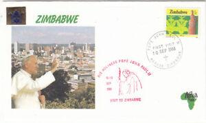 Zimbabwe 1988 Papal Visit souvenier cover Red cachet