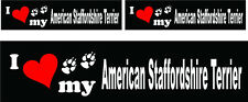 (3) I love my American Staffordshire Terrier dog bumper vinyl stickers decals
