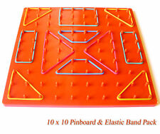 10 x 10 Plastic Pin Board Set / Elastic Rubber Bands Learning Education Resource
