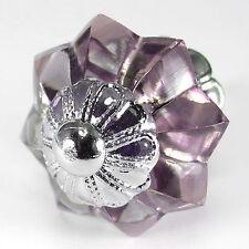 Cupboard Handles Cabinet Hardware Chrome Violet Glass Drawer Pulls #K201 Pack/6