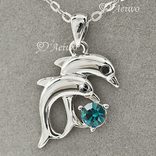 18K WHITE GOLD GF DOLPHIN MADE WITH SWAROVSKI CRYSTAL PENDANT NECKLACE 0.5CT