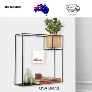 Umbra Wall Mounted Cube Floating Display Shelf Hanging Shelves Wood Metal