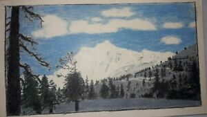 """1951, Hand Colored Picture of Mount Baker, Washington: 9"""" x 5 1/4"""""""