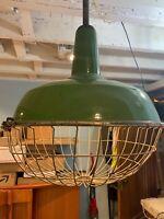 """vintage industrial Porcelain light green with guard, hanger WORKS - 18"""" dia j002"""