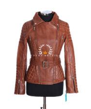 Hillary White Ladies Biker Style Fashion Retro Real Soft Sheep Leather Jacket 18