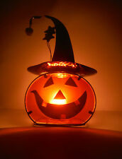 HALLOWEEN DECO. GLASS STAND UP PUMPKN CANDLE HOLDER  TALL AT 14'' WONDERFUL GLOW