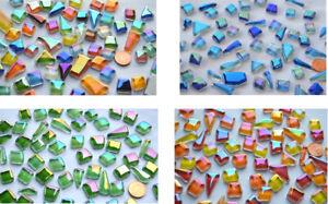 100g Soft-Glas Mosaiksteine unregelm. Regenbogenschimmer ca.50 Stück Farbauswahl
