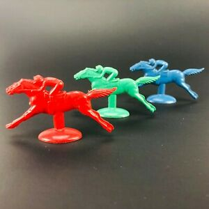 H Baron Vintage 3 Plastic Jockey Race Horses 'Day at the Races' Game Pieces VTG
