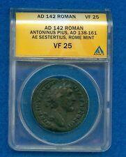 AD 142 ROMAN ANTONINUS PIUS AD 138-161 AE SESTERTIUS ROME MINT ANACS VF25