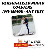 Printed Personalised Photo Coaster SQUARE & ROUND - FREE 1ST CLASS POSTAGE