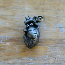 Anatomical Heart Charm Antique Bronze Realistic Organ Pendant Vintage Style