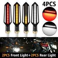 24LED Sequential Flowing Motorcycle Turn Signal Indicator Lights DRL Brake Lamp