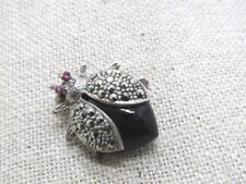 "Sterling Marcasite Bug/Bee Brooch, Red Rhinestone Eyes, Black Body, 1"", 6.22 gr."