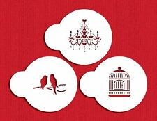 Mini Love Birds Cupcake Size Stencils Flexible Cookie Stencils 3 Piece Set