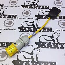 Marten® PAT Testing Adapter 110v 16a Plug to 230v 13a 1 Gang Socket Adapter