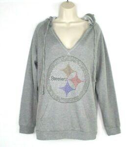 Pittsburgh Steelers Women V Neck Hoodie Size Small Gray Rhinestone Bling