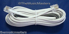 White 15' ft Telephone Modular Line Cord Phone Cable Extension Wire RJ11 VWLTW