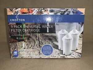 Crofton Universal Water Filter Cartridge~40 Gallons 3 Packs~BRITA & PUR Pitchers