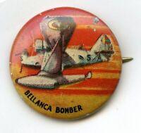 Bellanca Bomber Yank Junior Airplane Button Vintage Pinback Pin - Flight - BJ706