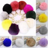10Colors Fluffy Soft Rabbit Fur Ball Key Chain PomPom Handbag Car KeyRing