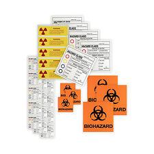HPTC V-180 Assorted Warning Labels Biohazard Radioactive Compliance Training