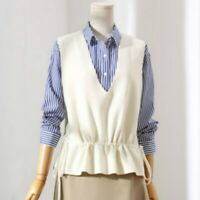 Lady Knit Waistcoat Gilet Vest Sleeveless Top Jumper Pullover V Neck Casual Chic