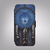 Arctic Wolf Husky Dream Catcher Leather Wallet Phone Case Cover iPhone Samsung